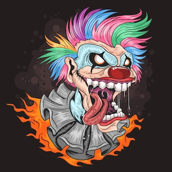 Clown unicorn full colour hair with smile artwork