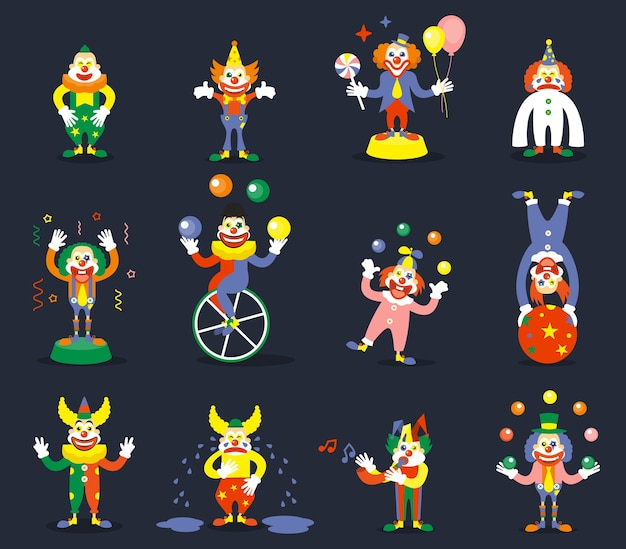 Clown vector characters set. smile or cry, juggle performer, show carnival, comedian and joker illustration
