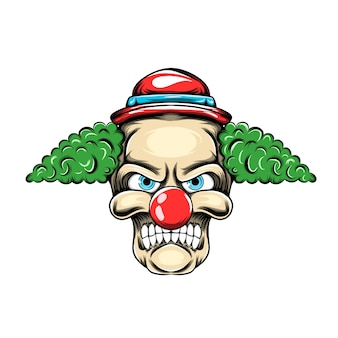 Clown with the green hair and small red hat posses with the scary face