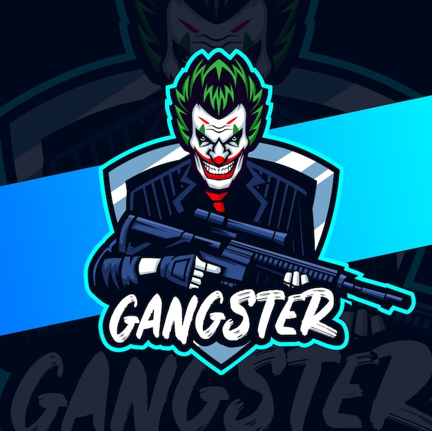Clown with gun mascot esport logo design