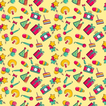 Clownery pattern seamless, cartoon style