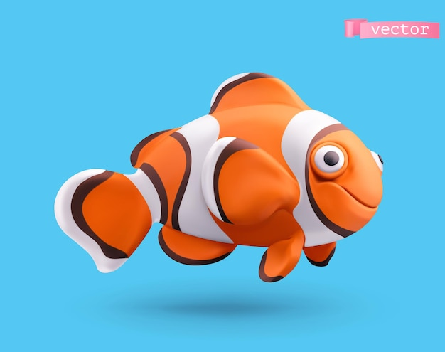 Clownfish character in 3d