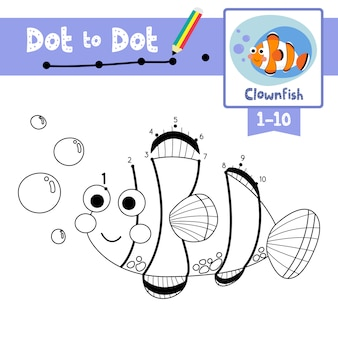 Clownfish dot to dot game and coloring book