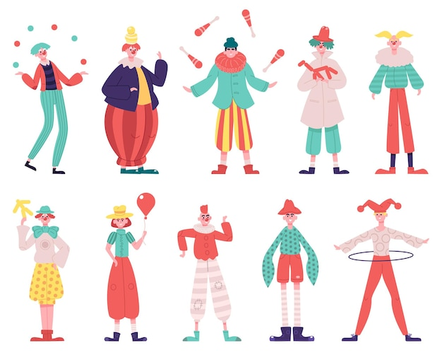 Персонажи клоунов, изолированные на белом фоне