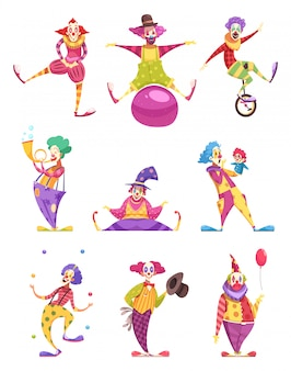 Clowns characters set