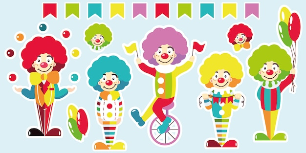 Clowns. set of bright stickers.