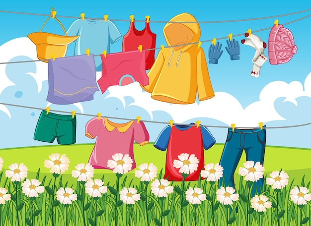 Cloyhes drying outdoor scene
