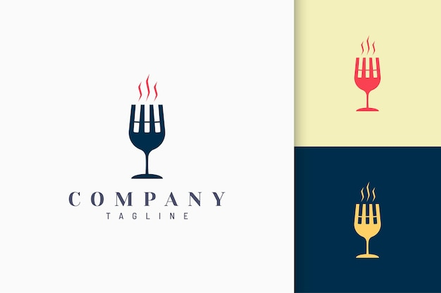 Club or cafe logo in cigarette and wineglass shape with luxury