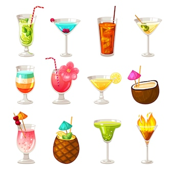 Club cocktails icons set