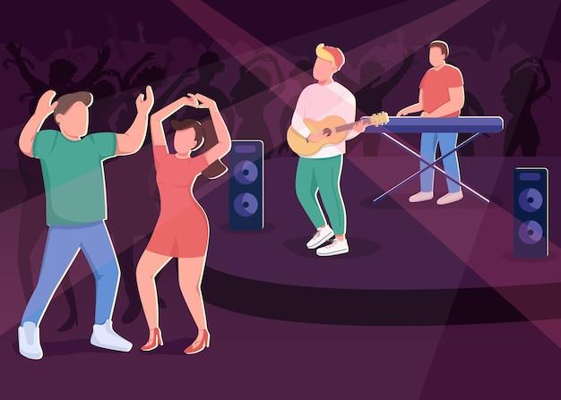 クラブコンサートフラットカラー。ナイトライフの楽しいエンターテインメント。カップルダンサー。ステージ上の音楽バンド。バックグラウンドで群衆とミュージシャンとナイトクラブの聴衆2d漫画のキャラクター