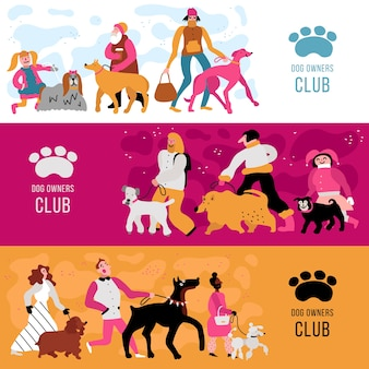 Club of dog owners horizontal banners set with adults and kids, different canine breeds isolated