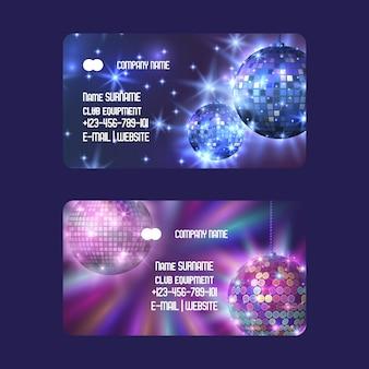 Club equipment for disco show shop or store set of business cards life begins at night