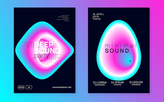 Club event. house and nightlife vector. creative pattern for magazine concept. indie dance poster. wavy glitch for brochure. purple and blue club event