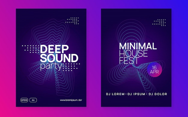 Club flyer. curvy discotheque banner set. dynamic gradient shape and line. neon club flyer. electro dance music. trance party dj. electronic sound fest. techno event poster.