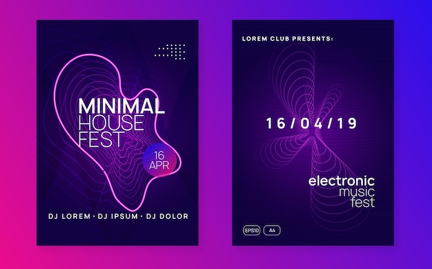 Club flyer. curvy discotheque magazine set. dynamic fluid shape and line. neon club flyer. electro dance music. trance party dj. electronic sound fest. techno event poster.