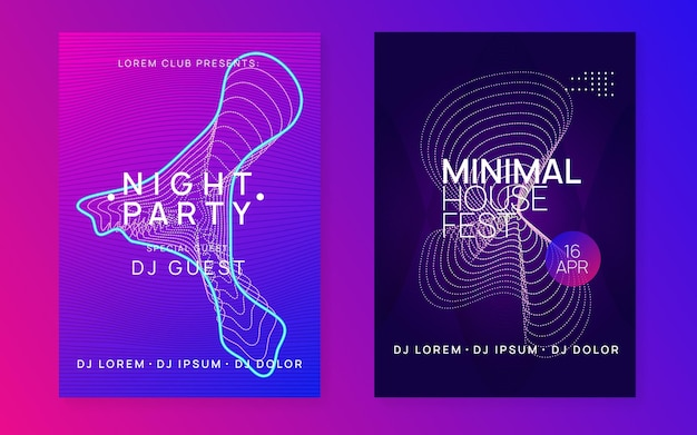 Club flyer. dynamic fluid shape and line. trendy concert cover set. neon club flyer. electro dance music. trance party dj. electronic sound fest. techno event poster.