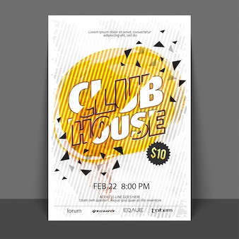 Club house, party flyer, template o banner con disegno astratto.