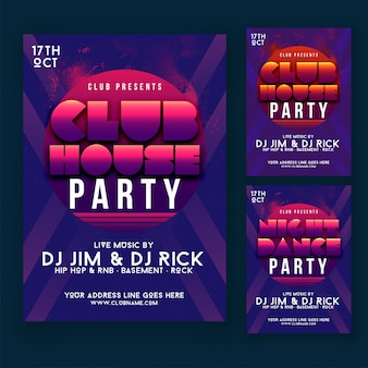Club house party flyer or poster design concept.