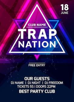 Клубный музыкальный плакат дизайн баннера. карточка творческого события флаера нации-ловушки для приглашения на ночную вечеринку.