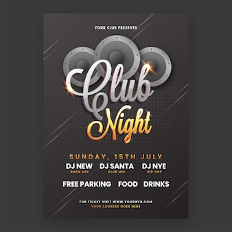 Club night party flyer design with woofers and event details in black color.
