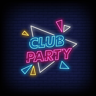 Club party neon signs style text vector