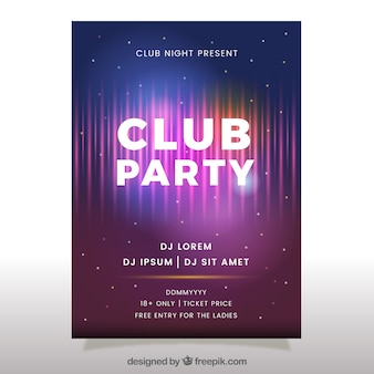 Club party poster with neon style