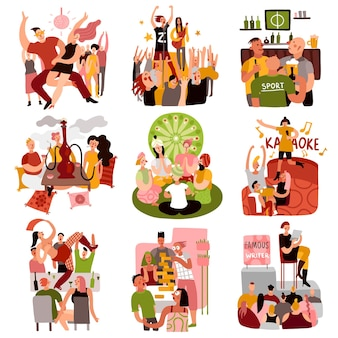 Club party set with dancing games and karaoke symbols flat isolated vector illustration