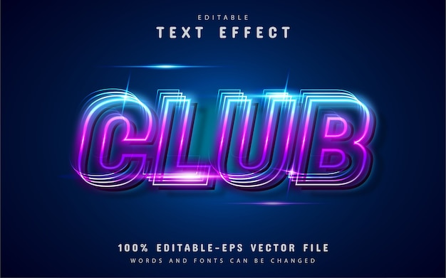 Club text effect neon style