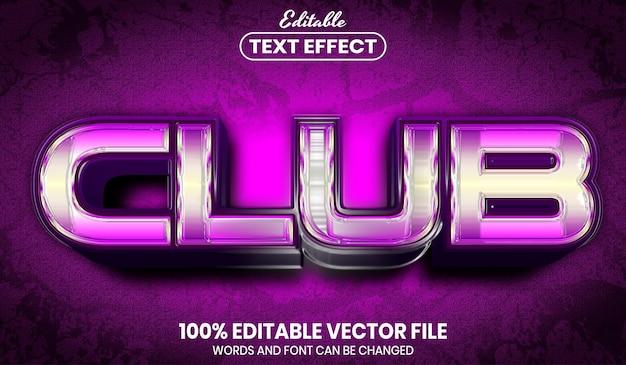Текст клуба, редактируемый текстовый эффект стиля шрифта