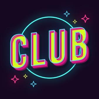 Club vintage 3d lettering