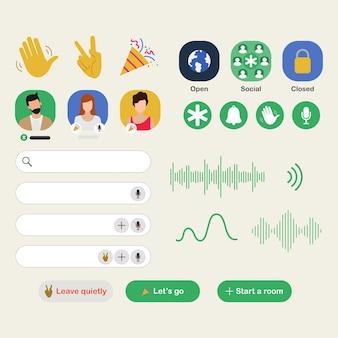 스마트 폰의 음성 채팅 애플리케이션을위한 클럽 하우스 앱.