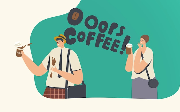 Clumsiness, accident on street or office. businessman in trouble with drink splash. clumsy character spill coffee on t-shirt, woman giggling. stressful situation. cartoon people vector illustration