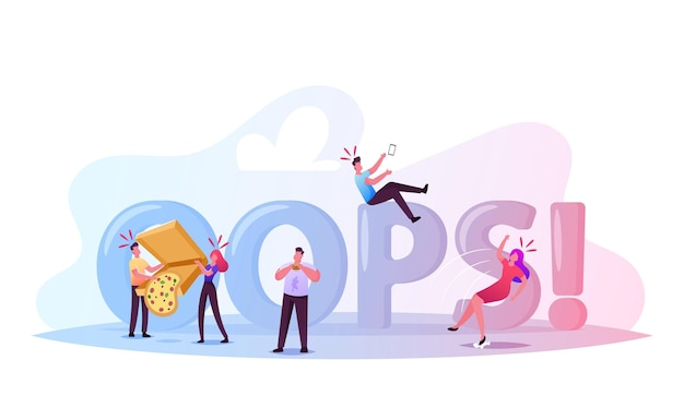Clumsiness concept. awkward male and female characters falling on wet floor, slap clothes with food around huge oops typography. bumbling poster, banner or flyer. cartoon people vector illustration