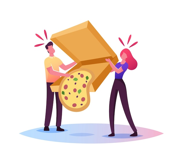Clumsiness, sods law illustration. tiny male and female characters drop huge takeaway box with delivered pizza fall down on floor