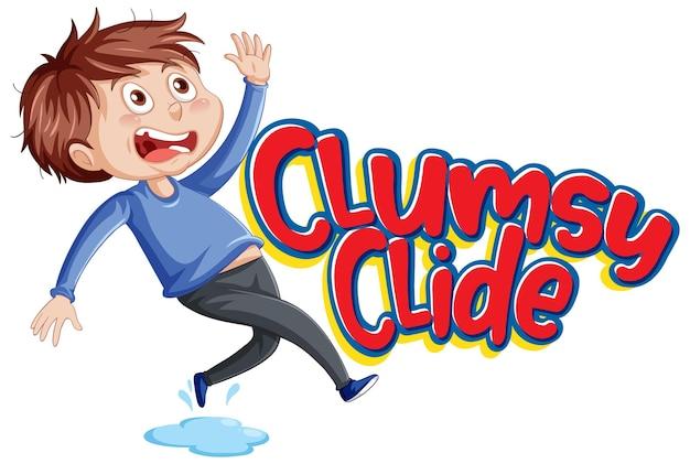 Design del testo del logo clumsy clide con un ragazzo goffo