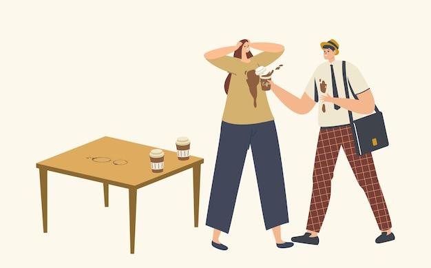서투른 남성 캐릭터가 여자 티셔츠에 커피를 쏟고 옷에 얼룩을 묻습니다. 스트레스 상황, 서투름, 사무실에서의 사고. 음료 얼룩에 문제가 있는 남자. 만화 사람들 벡터 일러스트 레이 션