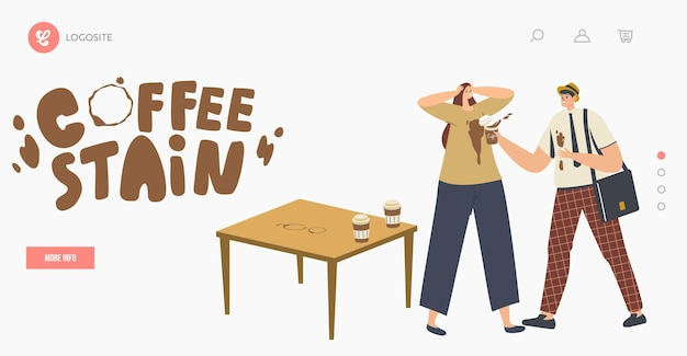 Clumsy male character spill coffee on woman t-shirt put stains on clothes landing page template. clumsiness, accident in office. man in trouble with drink splash. cartoon people vector illustration
