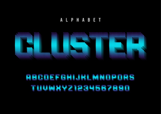 Cluster stylized font with alphabet, letter
