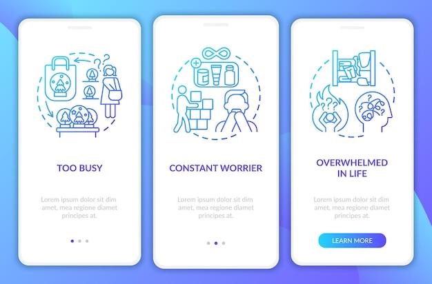 Загромождайте типы личности на экране страницы мобильного приложения концепциями. потрясающее прохождение по жизни 3 шага. шаблон пользовательского интерфейса с цветными иллюстрациями rgb