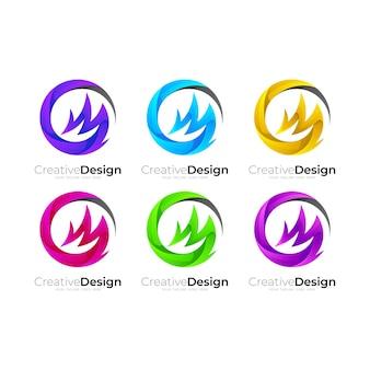 원 디자인 조합이있는 cm 로고, 3d 다채로운 로고