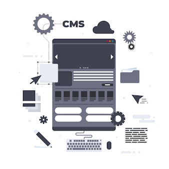 Cms concept in flat design
