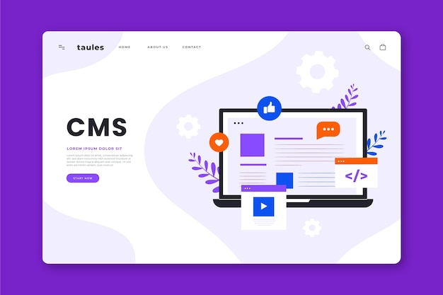 Cms concept landing page illustrated