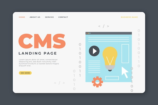 Cms concept web template illustrated