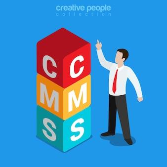 Sistema di gestione dei contenuti cms piatto isometrico