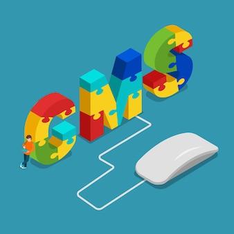 Cmsコンテンツ管理システムフラットアイソメトリック