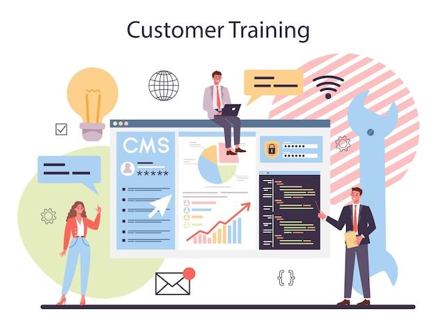 Cmsカスタマートレーニング。コンテンツ管理システム。デジタルコンテンツの作成と変更。ソーシャルネットワーク作成のためのデジタル戦略とコンテンツのアイデア。孤立したフラットイラスト