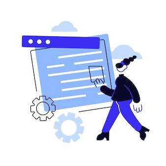 Cms 개발 추상 개념 벡터 일러스트 레이 션. cms, 프로그램 개발 서비스, 온라인 콘텐츠 관리 시스템, 웹 사이트 인터페이스 디자인, ui 요소, 사이트 메뉴 모음 추상 은유.
