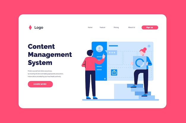 Cms landing page template flat-hand drawn