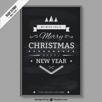 Cmyk black and white christmas card Free Vector