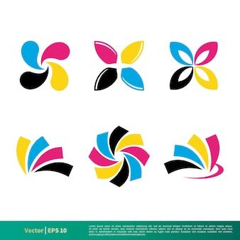 Cmyk color set логотип векторный шаблон